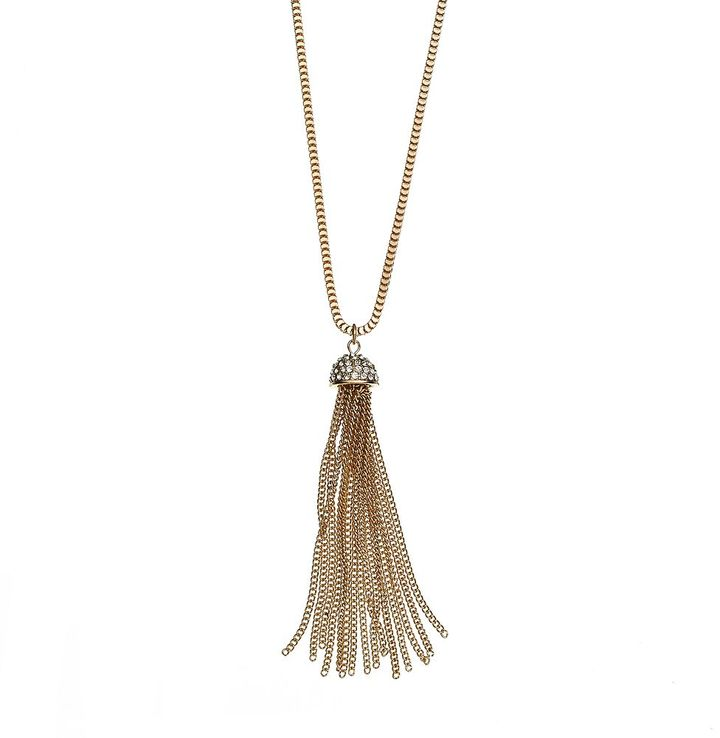 JLO by Jennifer Lopez gold tone simulated crystal tassel pendant