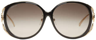 Gucci Black and Gold Round Injected Sunglasses