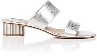 Salvatore Ferragamo Women's Flower-Heel Metallic Leather Sandals - Silver
