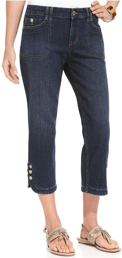 Style&Co. Jeans, Straight-Leg Button-Hem Capri, Magic Wash