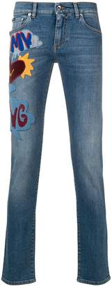 Dolce & Gabbana slogan patch jeans