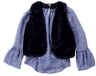 Beautees Floral Print Bell Sleeve Top & Faux Fur Vest Set (Big Girls)
