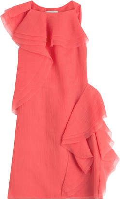 Jason Wu Crepe Organza Sleeveless Dress with Asymmetrical Ruffles