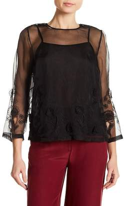Robert Rodriguez Embroidered Sheer Blouse