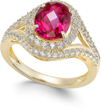 Macy's Lab-Created Ruby (2 ct. t.w.) and White Sapphire (3/4 ct. t.w.) in Gold-Plated Sterling Silver