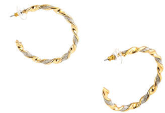 Bold Elements GOLD GLITTER TWISTED POST BACK HOOP