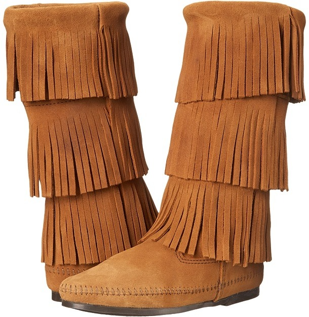 Minnetonka - Calf Hi 3-Layer Fringe Boot Women's Pull-on Boots