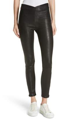Frame Overlap Waist Leather Pants