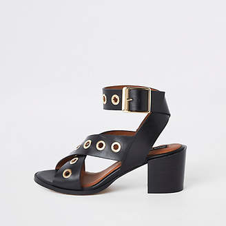River Island Black leather eyelet block heel sandals
