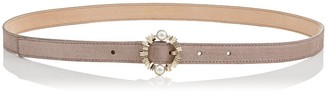 Jimmy Choo BINX Opal Grey Suede Belt with Pearl Encrusted Circular Buckle