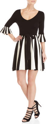 Moschino Stripe Bell Sleeve Fit & Flare Sweater Dress