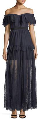 Self-Portrait Self Portrait Off-the-Shoulder Fine Lace Cocktail Maxi Dress