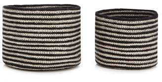 Debenhams Home Collection - Set Of Two Black Stripe Jute Storage Baskets