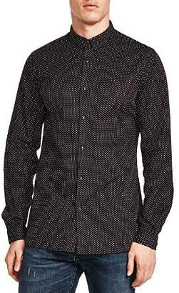 The Kooples Pin Dot Skull Snap Slim Fit Shirt