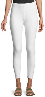 Joan Vass Stretch Jersey Ankle Leggings, White