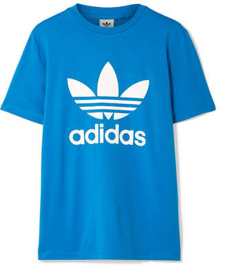 adidas Trefoil Printed Stretch-cotton Jersey T-shirt - Bright blue