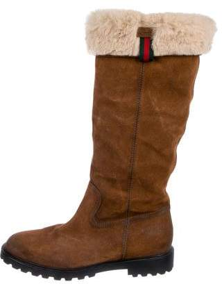 Gucci Shearling-Trimmed Knee-High Boots