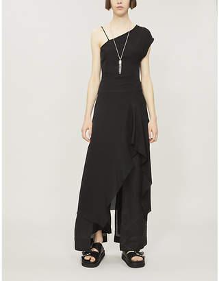 Isabel Benenato Asymmetric silk-crepe dress