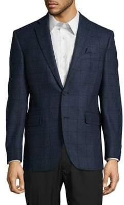 Black & Brown Black Brown Windowpane Wool Suit Jacket