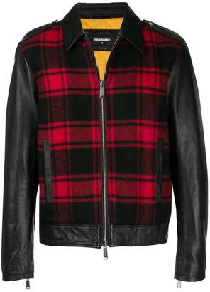 DSQUARED2 plaid panel leather jacket