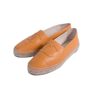 Chanel Orange Leather Espadrilles