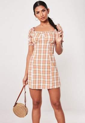 Missguided Peach Plaid Milkmaid Bardot Mini Dress