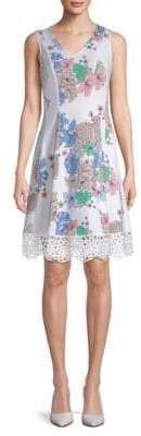 Donna Ricco Scuba Laser Cut Floral Dress