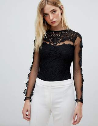Club L crochet lace mesh bodysuit
