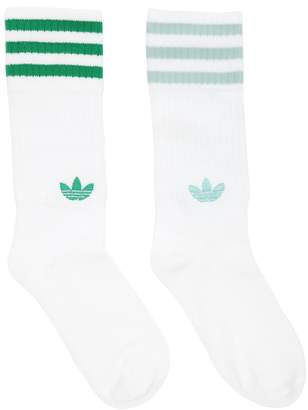 adidas 2 Pairs Of Striped Crew Socks