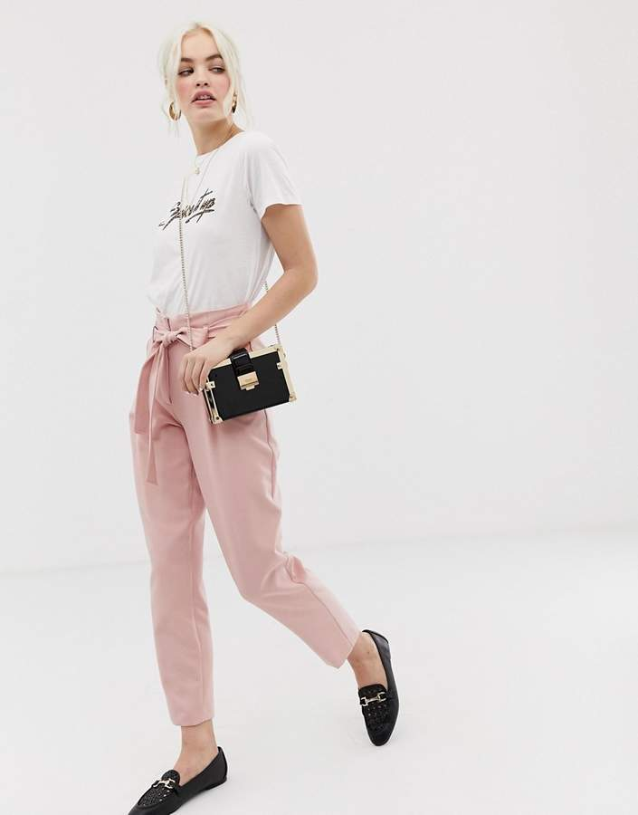New Look trousers with tie waist in pink