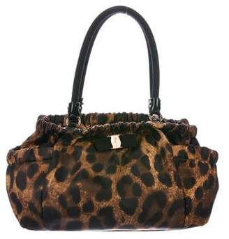 Salvatore Ferragamo Leopard Print Nylon Shoulder Bag