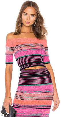 BCBGMAXAZRIA Striped Knit Crop Top