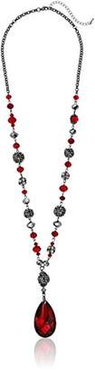 Fashion Faceted Glass Bead Drop Statement Y-Shaped Necklace