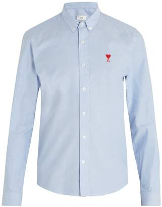 Ami Logo-embroidered long-sleeved cotton shirt