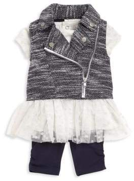 Baby Girl's Three-Piece Mini Moto Vest, Tunic & Leggings Set