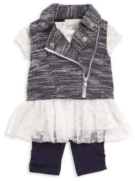 Moto Baby Girl's Three-Piece Mini Vest, Tunic & Leggings Set