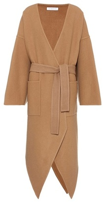 Pointed-hem wool and cashmere coat