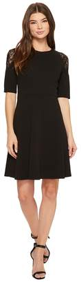 London Times Elbow Sleeve w/ Lace Cold Shoulder Fit Flare Women's Dress