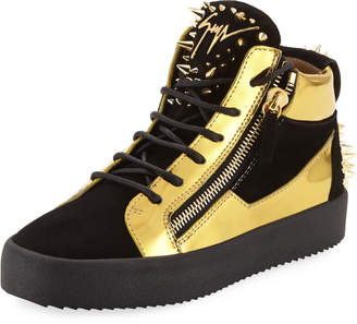 Giuseppe Zanotti Men's Studded Suede & Metallic Leather High-Top Sneakers