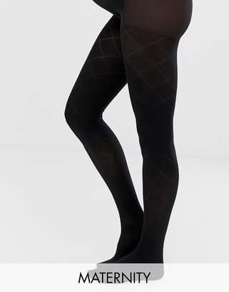 Emma Jane Maternity check pattern tights in black