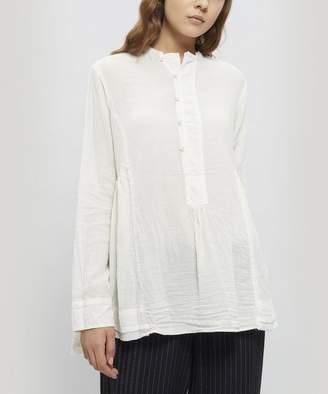 Pas De Calais Cotton Half Button Collarless Shirt