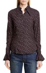 Michael Kors Collection Ruffle Cuff Vintage Floral Print Shirt