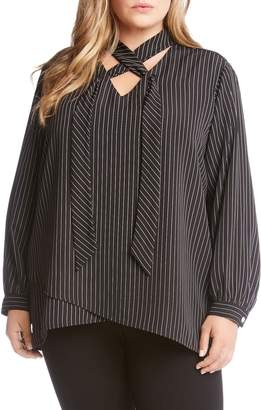 Karen Kane Stripe Tie Neck Crossover Top