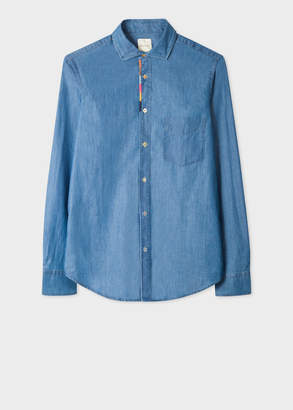 Paul Smith Men's Tailored-Fit Blue Chambray Shirt With 'Artist Stripe' Placket Embroidery Detail