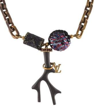 Louis Vuitton Crystal & Wood Statement Necklace