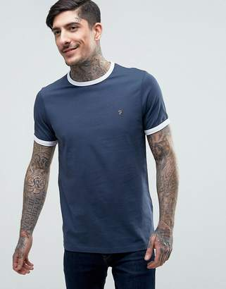 Farah Groves Ringer T-Shirt Slim Fit in Navy/Ecru