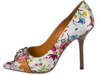 Gucci Floral Print Pee-Toe Pumps