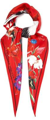 Alexander McQueen Printed Silk Scarf - Womens - Red