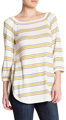 Cullen Stripe Off Shoulder Silk Blend Bardot Pullover $180 thestylecure.com