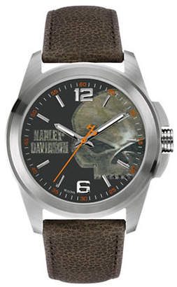 Harley-Davidson Analog The Willie G Skull Collection Leather Strap Watch